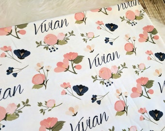 Personalized blue and pink swaddle blanket: baby and toddler personalized name newborn hospital gift baby shower gift