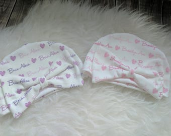 Personalized baby girl bow name hat: baby and toddler personalized name hat organic cotton knit baby shower gift