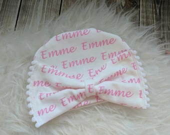 Personalized pom pom bow name hat: baby and toddler personalized name hat organic cotton knit baby shower gift