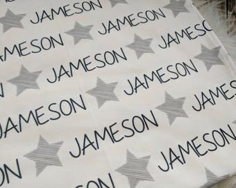 Personalized star swaddle blanket: baby and toddler personalized name newborn hospital gift baby shower gift
