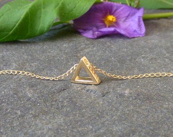 Tiny Gold Triangle Necklace, Gold filled, Minimalist Necklace, Layering Necklace, Geometric Jewelry, Gift for her
