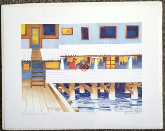 "Alaskan Artist Rie Munoz ""Fish Buyers, Pelican"" Limited Edition Print"
