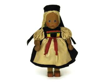 Vintage German Doll. Folk Art Wooden Figurine. Schwaben Swabia Souvenir. Ethnic Collectible.