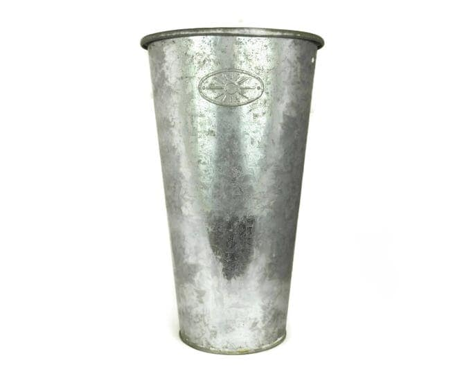 French Zinc Flower Bucket. Vintage Galvanized Florist Vase. Rustic Outdoor Planter. Garden Decor.