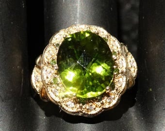 Peridot Ring 5 Carat, Yellow Gold, Green Diamond Accents, Vintage Estate, Engagement