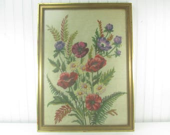 Vintage Needle Point, Vintage Cross Stitch Picture, floral picture,needlework,flowers, textiles, Wood Frame, Folk Art, Sewing Picture