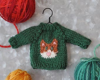 Orange Cat Hand-Knit Sweater Ornament  *Available to Order - Christmas Delivery Not Guaranteed*