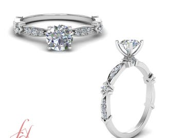 3/4 Carat Round Cut Diamond Delicate Small Engagement Ring In 14K White Gold GIA Certified