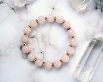Romantic Rose Quartz Gemstone Stretch Bracelet