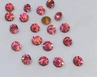 Vintage Glass Round Light Rose Pink colour Glass Rhinestone chaton 4mm Foiled pointed back - 20 pieces Vintage Rhinestones  Jewelry Supplies