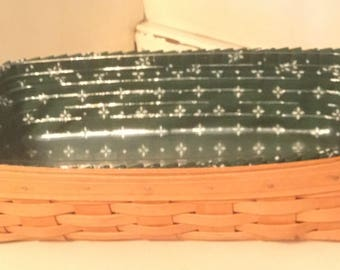Longaberger 1994 Bread Basket, cloth and Plastic Liner.