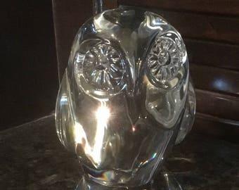 "Vintage Handmade Lead Crystal 4 1/2"" Owl Figurine Paperweight made by Hadeland Norway"