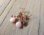 Confetti Cluster with Pink Opal Rose Gold Earrings