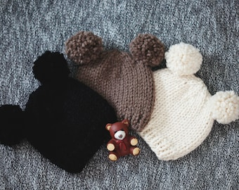 Adorable Knit Animal Ear Hat - Baby Bear - Great For Gifts!