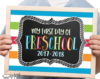 Preschool First Day Sign, Printable First Day Sign, First Day of School Sign, Chalkboard Preschool Sign, First Day of Preschool, Boy Colors