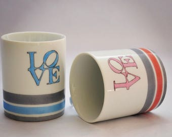 Love mugs porcelain pink and blue