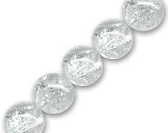 10 x 10 mm clear Crackle Glass round beads