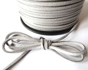 1 m x 3mm grey cord suede