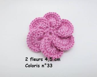 Set of 2 color No. 33 in Mercerized cotton crochet flowers