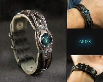 Adjustable Black Leather Aries Bracelet for Men, Aries Jewelry