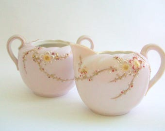 Cream & Sugar Set, Pink Cream and Sugar, Floral Creamer, Floral Sugar Bowl, Cherry Blossom Cream and Sugar, Vintage Cream and Sugar Set