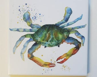 Crab Tile Trivet Origianl Watercolor Sea Life