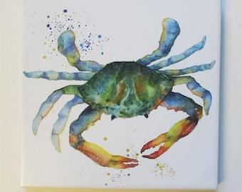 Crab Tile Trivet Origianl Watercolor Sea Life