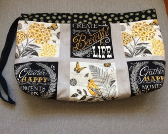 large (not interfaced) project bag--bee creative!