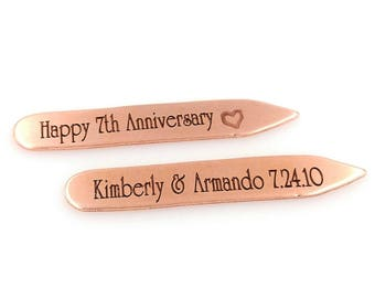 Seven 7 Year Wedding Anniversary Copper Engraved Collar Stiffeners, Collar Stays - Gifts for Men