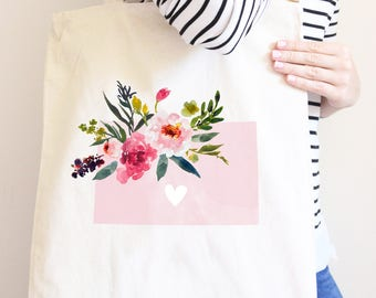 Colorado Market Bag, Cotton Canvas State Bag with Flowers