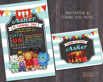 Daniel Tiger Birthday Invitations and/or Thank You Notes with Envelopes