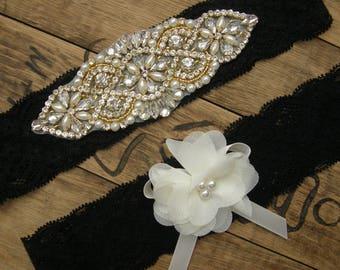 Black Wedding Garters, Wedding Garter Set, Crystal Rhinestone &Pearl / Vintage Inspired Garter /Vintage Lace Garter / Black / Ivory / Gold