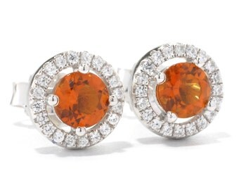 Platinum o/ Silver 1.03ctw Madeira Citrine Stud Earrings
