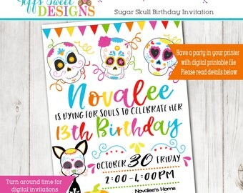 Halloween Birthday Invitation - Sugar Skull Birthday Invitation - Mexican Fall Halloween Party