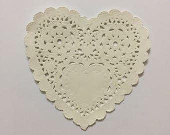 Love Shape Paper Doilies