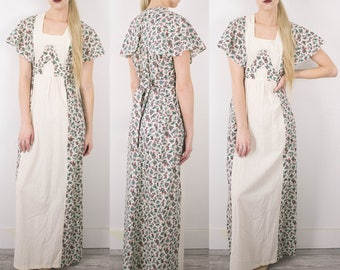 Vintage 70s Floral Flutter Sleeve Maxi Dress / Empire Waist Tie Back Hippie Boho 1970s Bohemian Sun Dress Maxi Small Medium Dress S34