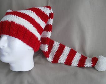 Hand knit Christmas hat -  Red & White striped Santa hat, extra long