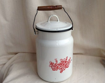 Soviet vintage enamel milk can Retro milk jug Soviet farmhouse cottage Retro kitchen storage Vintage jug Enamel churn Wedding white vase