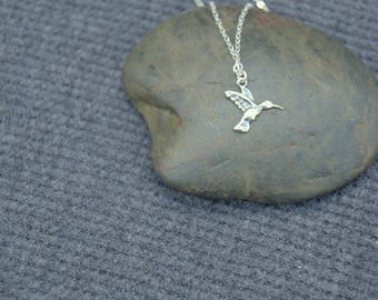 tiny hummingbird necklace, sterling silver bird necklace, minimal necklace, everyday necklace, silver hummingbird necklace, dainty necklace