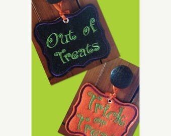 ON SALE Trick or Treat door hanger sign double sided small, sign, banner, embroidery, embroidered, Halloween, holiday, autumn fall, decorati