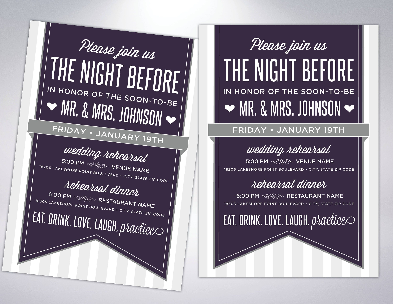 Pre Wedding Dinner Invitation: Rehearsal Dinner Invitations The Last Night The Night