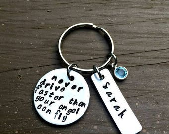 New Driver Gift, Never Drive Faster Than Your Angel Can Fly, Hand Stamped Key Chain, Sweet 16, Teenager Gift, Birthday Present, Name tag