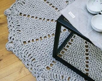Large Handmade round crochet rug, wool rug, natural rug, baby eco-friendly rug, home decor rug,eco friendly, gray wool rug