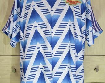 Vintage adidas orginal 1980s Panorama Park Amature Leagure Team Football shirt Soccer Jersey Short sleeved red vtg L