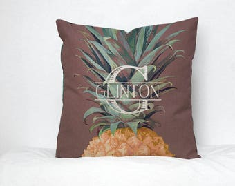 Pineapple Personalized Monogram Pillow cover Wedding gift for Couples .Last Name,Established Date