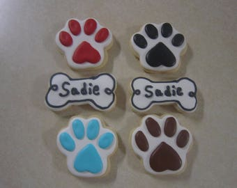 12 Dog Bone and or Paw Hand Decorated Cookies