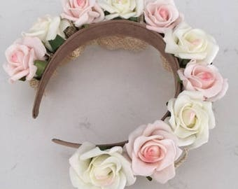 Gorgeous cream and pink flowered headband with gold sinamay loops. Stunning on!
