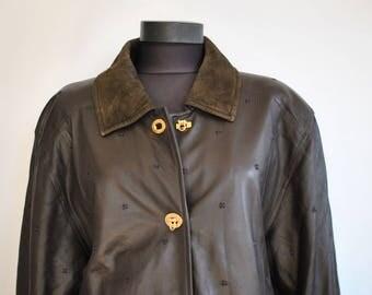Vintage APART FASHION leather parka , women's leather jacket .............(441)
