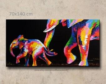 70 x 140 cm, Elephant painting, wall decor