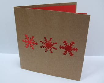 Christmas Card - Paper Cut Snowflakes - Paper Handmade Greeting Card - Holiday Card - Kraft Card - Recycled Card